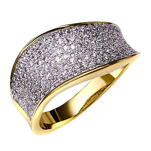 CCWANRZ Verlobungs- / EheringBeste Neuer eleganter 2-Ton Goldring für Frauen Ausgezeichnet pflastern Sieweißen CZ-Steinkristall, 2-Ton Goldfarbe, 9