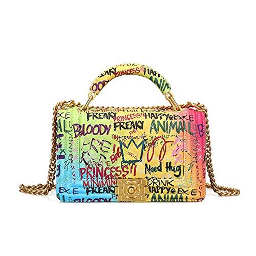 N\C Ladies Fashion Handbag Diamond Chain Bag Color Graffiti Bag