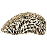 Lipodo Strohflatcap Damen/Herren - Sommercap aus 100% Stroh - Flat Cap Made in Italy - Hinten mit Stretchband - Flatcap in 55-61 cm - Schirmmütze Frühjahr/Sommer Natur 61 cm