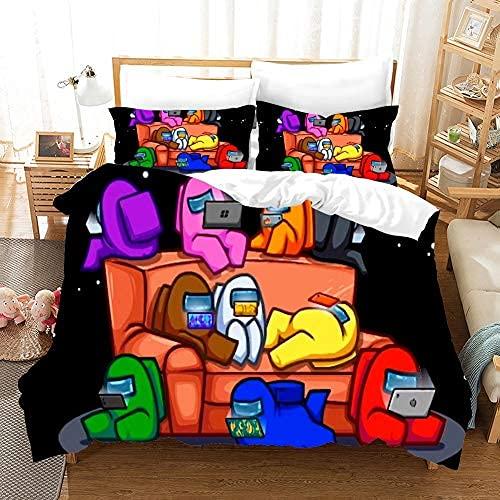 PTNQAZ Among US Set di biancheria da letto per ragazzi regalo bambini 3D stampato gioco copripiumino set con federe trapunta morbido copriletto camera (singolo)