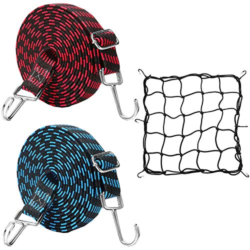Cinchas de Amarre Elasticas Liuer 2PCS Cuerda Casco de Moto Cuerda de Equipaje con Gancho Red de Equipaje Cuerda Equipaje para Bacas,Motos,Bicicletas
