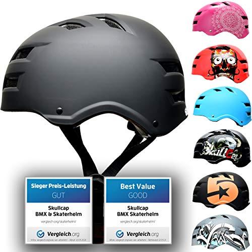 SkullCap® Skaterhelm Erwachsene Schwarz Dark World - Fahrradhelm Damen Herren ab 14 Jahre Größe 55-58 cm - Scoot and Ride Helmet Adult Black - Skater Helm für BMX Inliner Fahrrad Skateboard