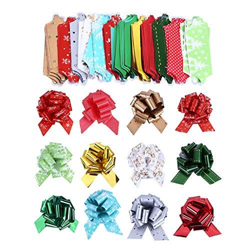 Navidad Moños y Cintas 12 piezas 4.7inch de tirar de arcos con cinta envolviendo Navidad de mariposa Papel de regalo de flores cesta de regalo Cestas de regalo de boda Decoración, 12 patrones
