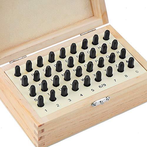 WiMas 36PCS 4mm Buchstaben und Zahlen Stempel Set, Stahl Metall Stanzset, Briefmarken Schnitzwerkzeuge