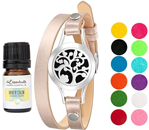 Wild Essentials Essential Oil Diffuser Arbol Tree Bracelet, Stainless Steel Aromatherapy Locket, Rose Gold Leather Band with 8 Color Pads,Girls Women Jewelry Gift Set With Inner Calm Essential Oil