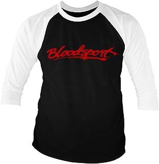 Bloodsport Officially Licensed Logo Baseball 3/4 Sleeve T-Shirt (Black-White)