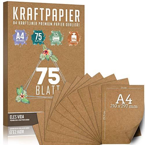 75 Blatt Kraftpapier A4 Set - 260 g - 21 x 29,7 cm - DIN Format - Bastelpapier & Naturkarton Pappe Blätter aus Kraftkarton zum Drucken, Kartonpapier Basteln für Vintage Hochzeit Geschenke Etiketten