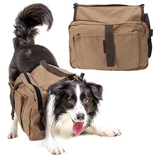 XXDYF Hund Geschirr Doppeltasche für Hound Travel Outdoor, Wetterfester Rucksack für Hunde, Strapazierfähiger Wanderrucksack, für Medium Large Hund,Khaki