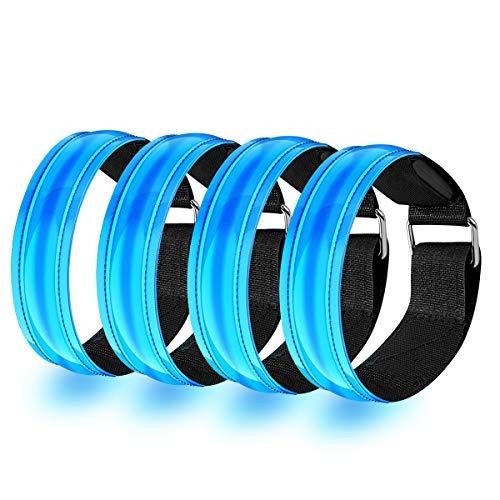 EYNOCA LED Armband, 4 Stück Reflektor Armband für Kinder, Fahrradzubehör Männer Damen, Lauflicht mit Reflektorband für Laufen Joggen Radfahren Hundewandern Running Outdoor- Sportarten