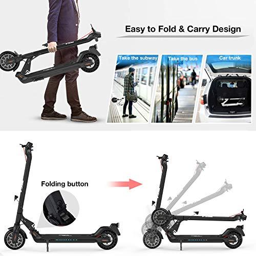 Mega Motion E-Scooter Klappbar Elektroroller Scooter Geschwindigkeit Erwachsene bis 30 Km/h 8.5 Zoll aufblasbares LCD-Display Tragbar Vorderen und Hinteren Rückleuchten(Black) - 2