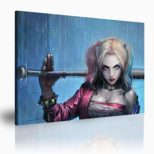 Imprimir sobre lienzo Harley Quinn Harley Quinn movie Pintura al óleo del arte Pintura de arte en la decoración de la pared cartel de impresión de pared en lienzo 91x61 cm (36x24 in)
