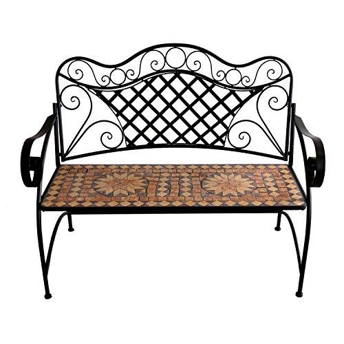 Wohaga® Mosaik Gartenbank, 2-Sitzer, Metallgestell Schwarz, 117x97x57cm