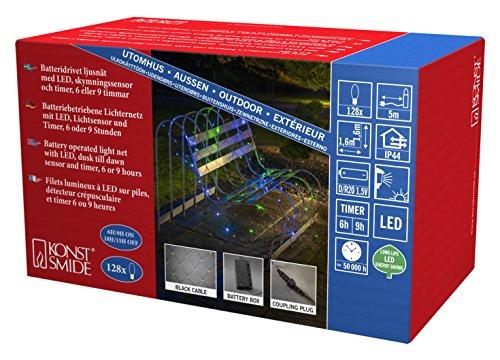 Konstsmide 3767-500 LED Lichternetz / für Außen (IP44) / Batteriebetrieben: 4xD 1.5V (exkl.) / mit Lichtsensor, 6h und 9h Timer / 128 bunten Dioden / schwarzes Kabel