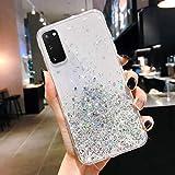 Saceebe Compatibile con Galaxy S20 Custodia TPU Silicone Transparente Glitter Cielo stellato trasparente Silicone TPU Cover Ultra Sottile Bumper Case Morbida Antigraffio,Trasparente