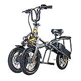 XYDDC Portable Pliant électrique à Trois Roues de vélos pour Adultes Loisirs Voyage Scooter - Matière en Alliage d'aluminium léger - Affichage Intelligent et Batterie au Lithium 10.4AH * 2