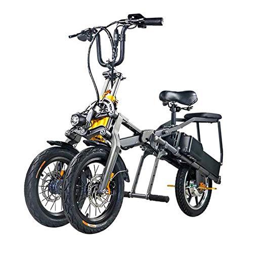 XYDDC Portátil Plegable eléctrico de Tres Ruedas de Bicicletas para Adultos Ocio Scooter - aleación de Aluminio Ligero de Material - Smart Display Y batería de Litio 10.4AH * 2