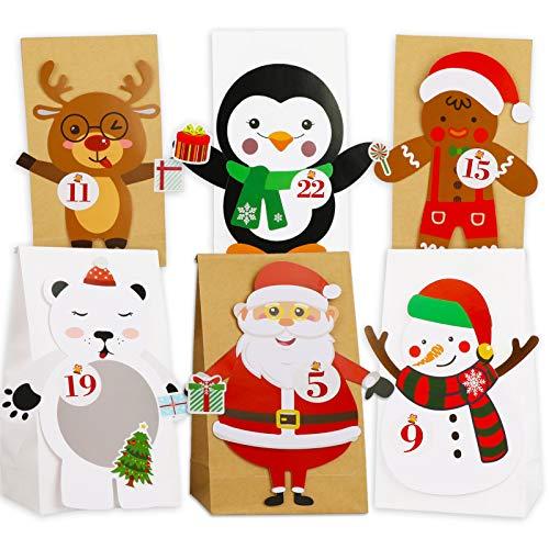 HOWAF DIY Adventskalender zum Befüllen, Geschenk Papiertueten, 24 Adventskalender Tüten Kinder zum selber Basteln Eisbär Rentier Pinguin Lebkuchenmann Schneemann Weihnachtsmann, mit Stickern