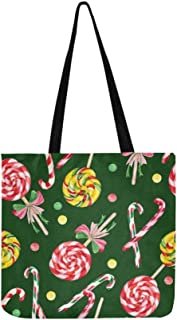 Lollipop Candy Cane Yummy Canvas Tote Handbag Shoulder Bag Crossbody Bags Purses For Men And Women Shopping Tote
