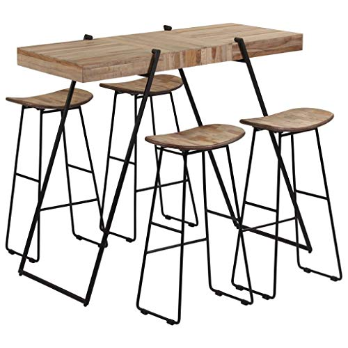 Tidyard Set Mesa y sillas de Bar 5 Piezas Madera de Teca reciclada, 1 Mesa de Bar y 4 sillas de Bar,Conjuntos de Muebles de jardín