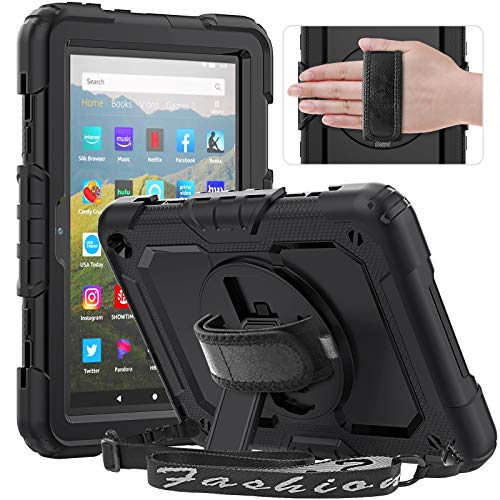 Timecity Case for Kindle Fire HD 8 Tablet and Fire HD 8 Plus Tablet, Full-body Protective Case with Screen Protector, 360° Rotating Stand, Hand/Shoulder Strap, Pencil Holder - Black