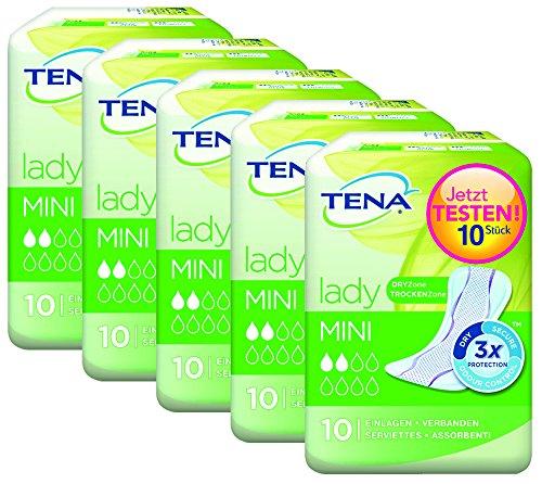 Tena Lady Mini, DaMen Einlagen für leichte Blasenschwäche / Inkontinenz mit speziellem Geruchsbinder -Einlagen, einzeln verpackt, saugstark und diskret 5er Pack (5 x 10 Stück)