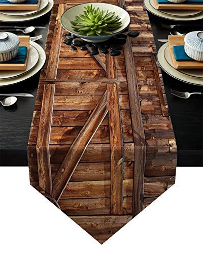 Linnen jute tafel loper dressoir sjaals 13 x 70 inch, blauw geel en grijs dahlia boerderij tafellopers voor feesten, eetkamer, thuiskeuken, bruiloft decoraties