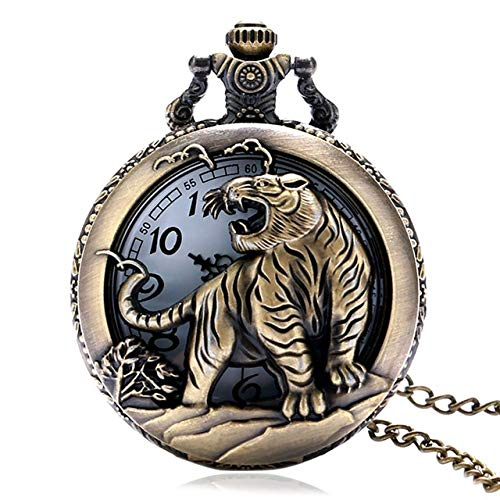 IOMLOP Pocket WatchBronze Vintage Chinese Zodiac healthy Quartz Pocket Watch Necklace Pendant Gift Fob Watches Art Collectible Gifts for Men Women,tiger