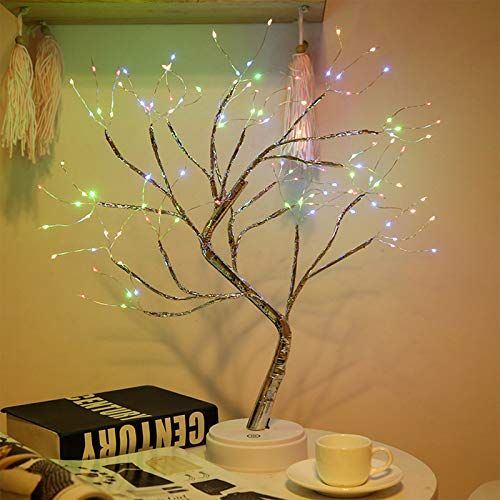 Desktop Bonsai Tree Light, LED 108 Firefly Copper Wire Tree, Touch Switch, USB/Battery Power, DIY Artificial Tree Light, Wedding Christmas Interior Decoration Lights (108led Copper Wire Colorful)
