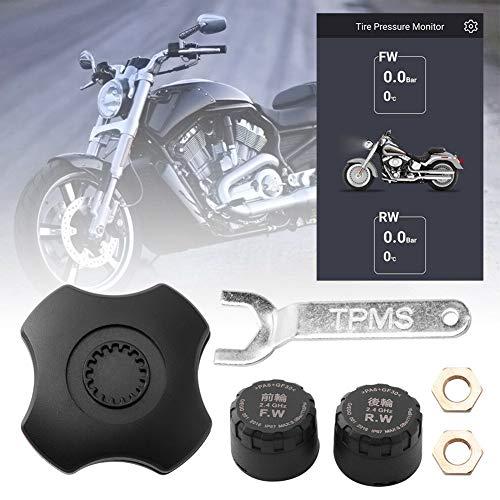 MCLseller Reifendruckkontrollsensor für Motorräder, kabelloser externer Schutzsensor, TPMS-Reifendruckkontrollsystem, Bluetooth-APP, Kompatibel für Android iOS