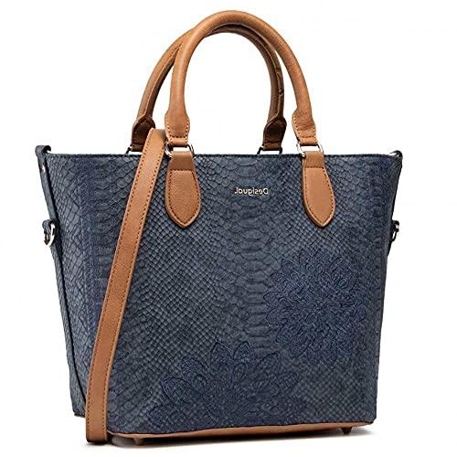 Desigual PU Hand Bag, Mano Mujer, azul, U