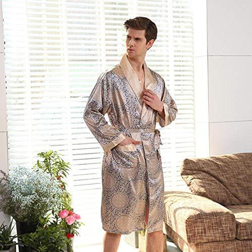 STJDM Bata de Noche,Kimono para Hombre, Bata Individual, camisón de satén, paños Finos de Verano para el hogar, Albornoz Largo de Talla Grande 4XL 5XL, Ropa de Dormir XXXL Dorado