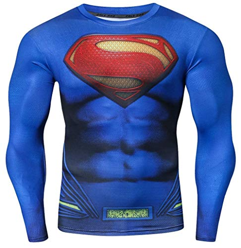 Men's Superman Compression Dry Fit Long Sleeve Shirt, M to XXL