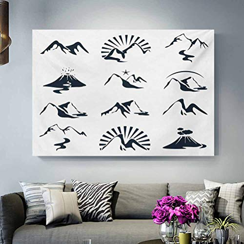 ScottDecor Movie Poster Blue and White,A Collection of Mountain Silhouettes Volcano River and Clouds Cartoon,Dark Blue White Wife Ideas L36 x H24 Inch