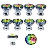 Yishik MY08 Lot de 10 poignées de tiroir en Verre Cristal pour Placard, Placard, Placard, Placard, Placard de Cuisine et Salle de Bain, coloré, 30 mm