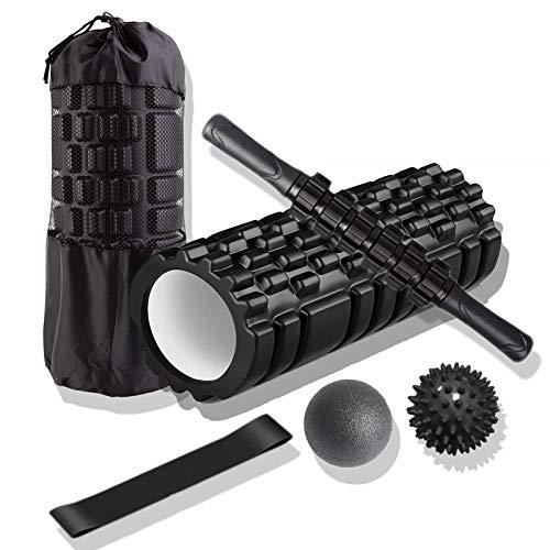 Rouleau de Massage 4 en 1 Kit, Foam Roller+Baton Massage+3Bande Élastique Fitness+Balle Massage, Trigger Point Massage Rouleau de Mousse pour Massage Profond des Tissus Musculaires Foam Roller Pilates