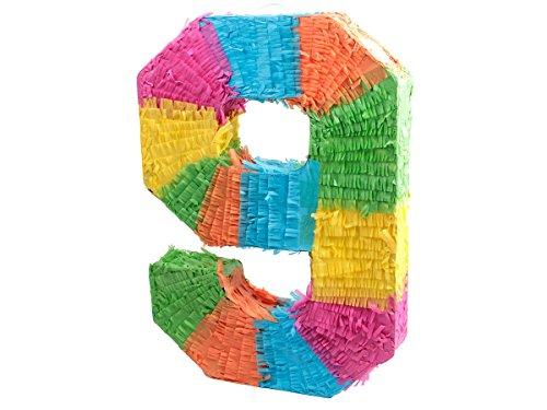 Alsino Piñata Multicolor | Forma de número 9 | para la Fiesta de Cumpleaños | Entretenimiento Niños, Piñata número 9
