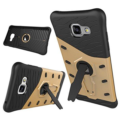 Zhanying pour Samsung Galaxy A5 2016 A510 Double Couche Armure Bouclier De Protection Antichoc avec Ajustement Kickstand Case Cover (Couleur : Or)