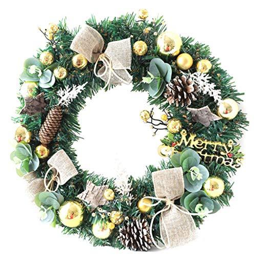 Decorazione Parete 40 Centimetri Natale Artificiale Corona Porta con Pigna Palla E Bowknot Regali for Natale Guirnalda Navidad (Color : C)