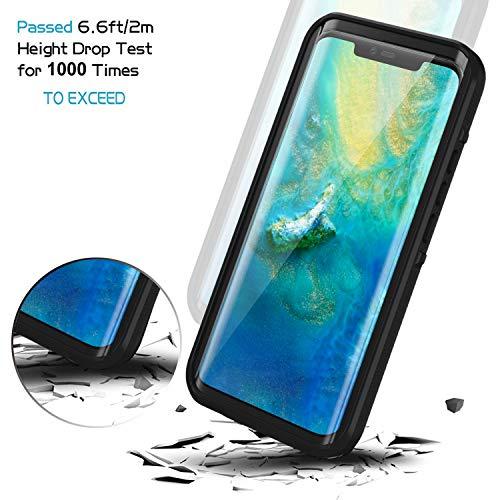 Lanhiem für Huawei Mate 20 Pro Hülle, IP68 Zertifiziert Wasserdicht Handy hülle 360 Grad Schutzhülle, Stoßfest Staubdicht und Schneefest Outdoor Schutz mit Eingebautem Displayschutz - Schwarz - 4