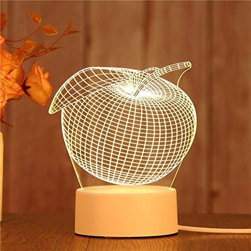 Cumpleaños amor dibujos animados lindo navidad regalo para niños lámpara de mesa luz de noche acrílica 3D decoración del hogar fruta de manzana