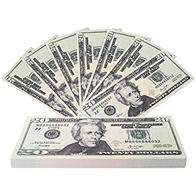 RUVINCE Prop Money Full Print 2 Sided Play Money That Looks Real Dollar $2000 Copy of $20Props Prop Stack by Orcalo