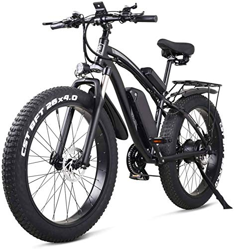 RDJM Ebikes, 26 Inch Electric Bike Mountain E-bike 21 Speed 48v Lithium Battery 4.0 Off-road 1000w Back Seat Electric Mountain Bike Bicycle for Adult,Blue (Color : Black)