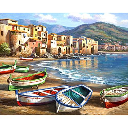 QSDFASF Pintura al óleo de Bricolaje, Pintura por números, Pintura por números para Adultos, niños, Principiantes,16 x 20 Pulgadas sin Marco(Barco en la Playa)