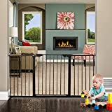 ALLAIBB Baby Gate Auto Close Walk Through Black Tension Metal Child Pet Safety Gates with Pressure Mount for Stairs,Doorways and Kitchen (Black, 62.60'-65.35')