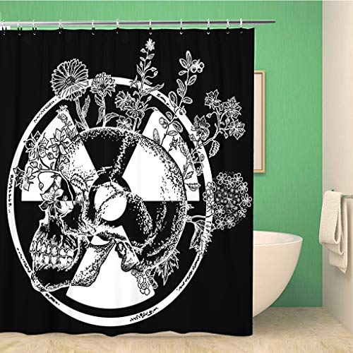 Awowee Bathroom Shower Curtain Atomic Skull Tattoo and Symbol of Radiation Apocalypse Nuclear 66x72 inches Waterproof Bath Curtain Set with Hooks
