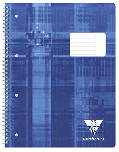 Clairefontaine 68225C - Notizbuch mit Spiralen STUDIUM A4 Innenraum gestreiften Horizontaler Rand 160 Seiten, Farbe blau