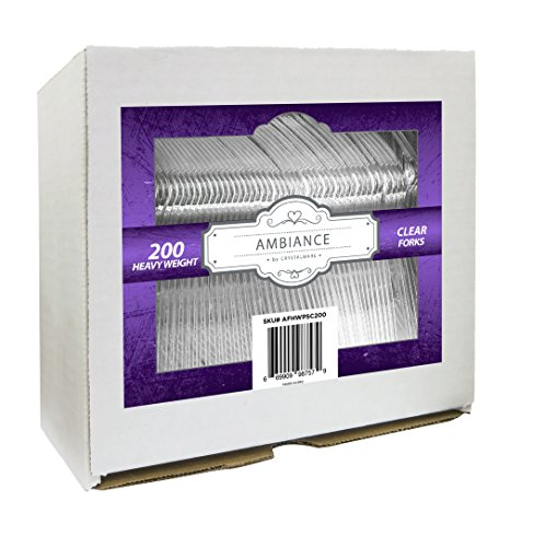 Crystalware, Heavy-Weight Clear Plastic Forks, Durable, Disposable, Box of 200