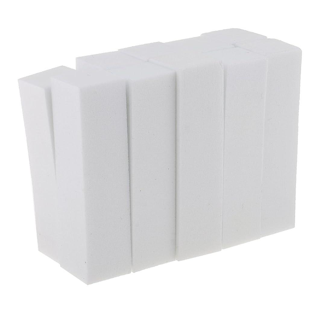 10個入りホワイトフォームネイルアートマニキュアペディキュアバッファファイルツール用ネイルエクステンション、アクリルネイル、ネイルのヒント、ナチュラルネイル
