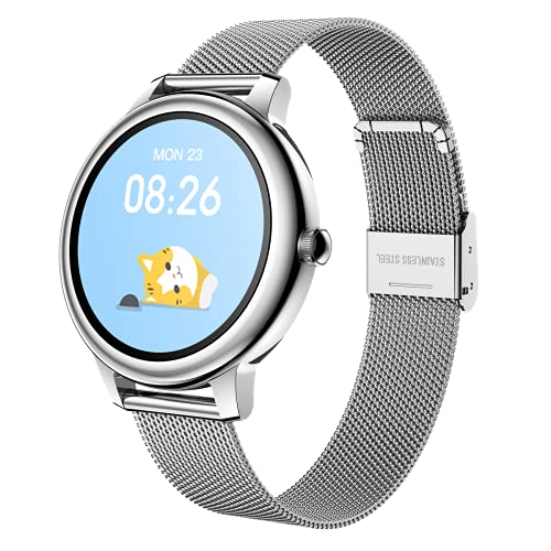 VEYKY Smart Watch for Women Men Fitness Activity Tracker Blood Pressure Blood Oxygen Sleep Monitor with Heart Rate Monitor Full Touch Screen Smartwatch Compatible with iPhone Android Phones (Silver)