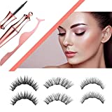 Jahul Magnetic Eyelash Kit and Magnetic Eyeliner, 3 Pair of Magnetic Eyelashes with Full Eye 5 Magnets Reusable Fake Eyelashes Magnetic Lashes